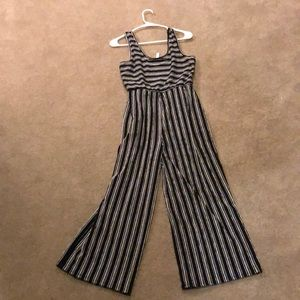 Striped wide legged cropped jumpsuit